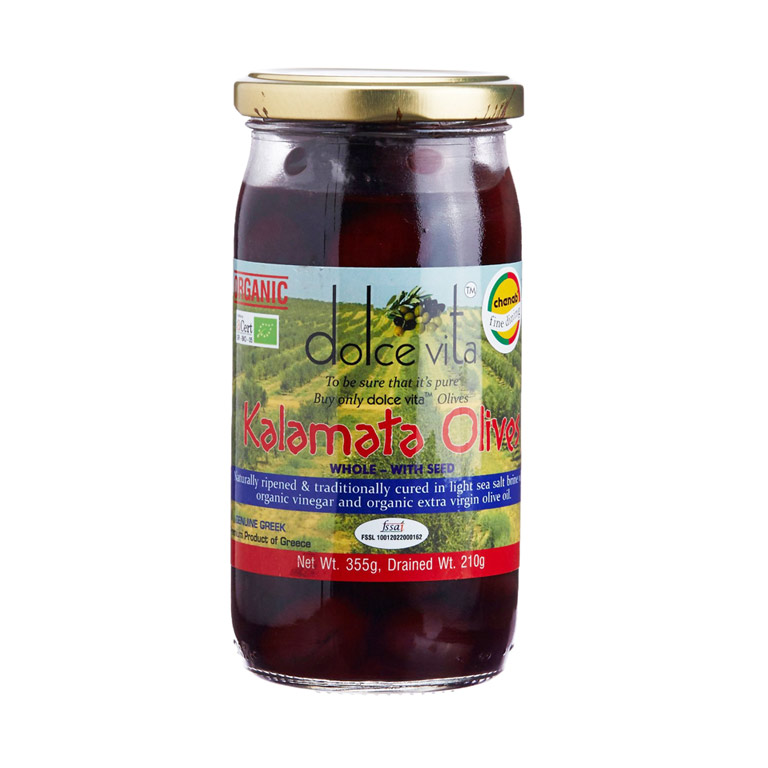 Dolce Vita Organic Whole Kalamata Olives 200gm from Italy in India