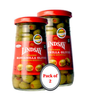 Lindsay Spanish Manzanilla Olives Stuffed with Pimiento 163g (Pack of 2)